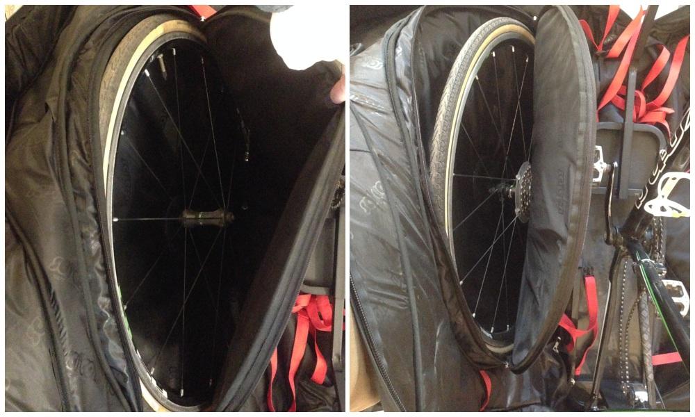 Убираем колеса в сумку для перевозки велосипедов scicon