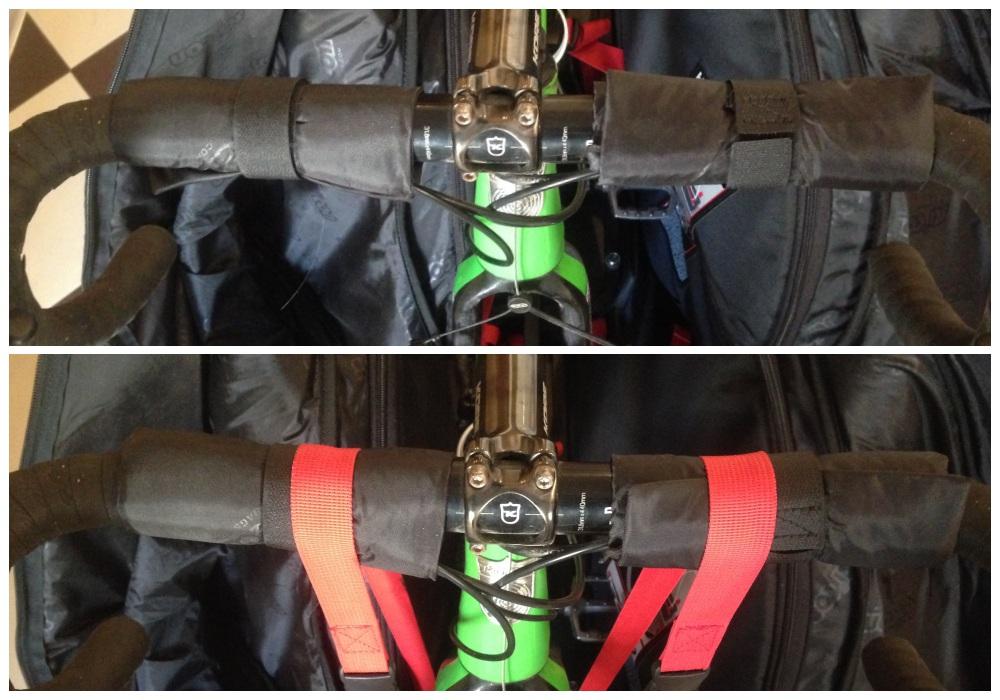 Кпеаление руля в велосумке скикон