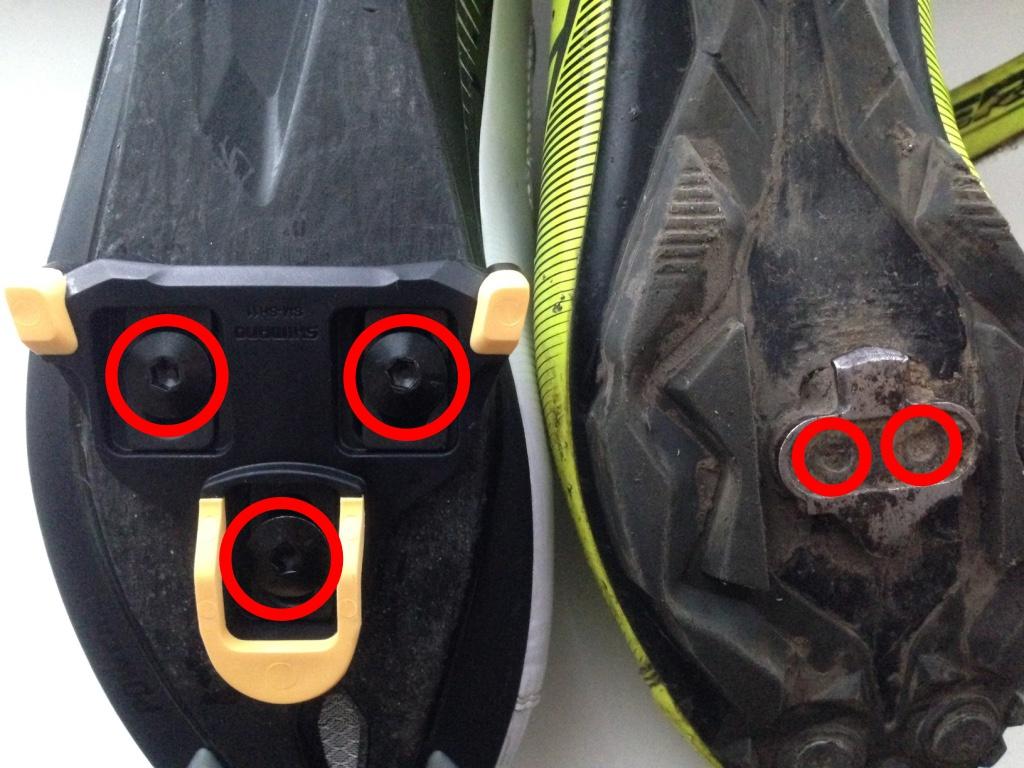 Крепление шипа к велотуфлям